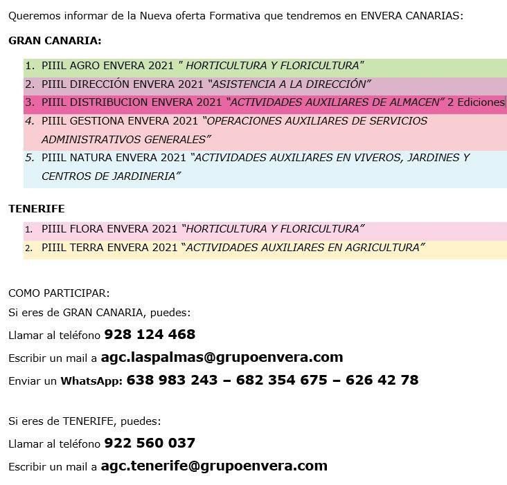 OFERTA FORMATIVA ENVERA CANARIAS 2021